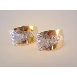 Výrazné dámske zlaté naušnice vzorované DA287V viacfarebné zlato 14 karátov 585/1000 2,87 g