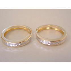 Zlaté dámske naušnice kruhy vzorované DA188V viacfarebné zlato 14 karátov 585/1000 1,88 g