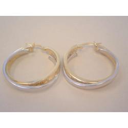 Dámske zlaté naušnice kruhy jemný vzor VA446V viacfarebné zlato 14 karátov 585/1000 4,46 g