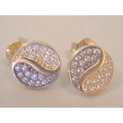 Zlaté dámske naušnice napichovačky viacfarebné zlato zirkóny VA187V 14 karátov 5852/1000 1,87 g