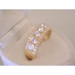 Výrazný dámsky zlatý prsteň žlté zlato zirkóny VP56361Z 14 karátov 585/1000 3,61 g