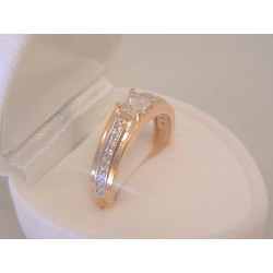 Zlatý dámsky prsteň viacfarebné zlato zirkóny VP563V 14 karátov 585/1000 3,0 g