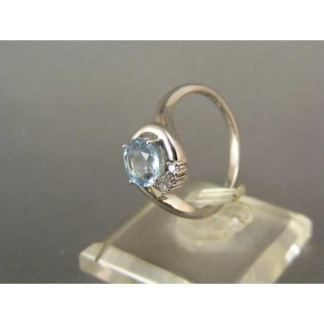 Dámsky prsteň z bieleho zlata z modrým zirkónom