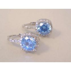 Strieborné dámske naušnice žiarivý modrý zirkón VAS274 925/1000 2,74 g