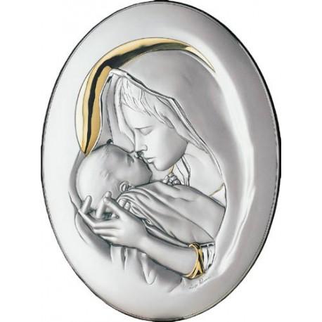 Strieborný obraz Madona s dieťaťom