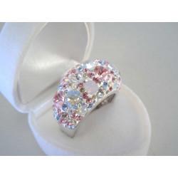 Výrazný strieborný dámsky prsteň Swarovski kamienky DPS60886 925/1000 8,86 g