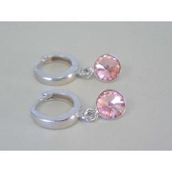 Strieborné dámske visiace naušnice ružový swarovski kamienok DAS219 925/1000 2,19 g