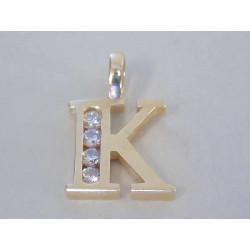Dámsky zlatý prívesok písmeno K žlté zlato zirkóny VI116Z 14 karátov 585/1000 1,16 g