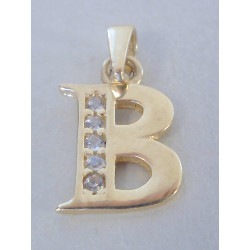 Zlatý dámsky prívesok písmenko B žlté zlato,zirkón VI065Z 14 karátov 585/1000 0,65 g