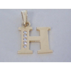 Zlatý prívesok písmeno H žlté zlato zirkóny VI084Z 14 karátov 585/1000 0,84g