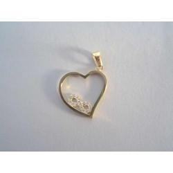 Zlatý prívesok v tvare srdca zirkóny DI136Z žlté zlato 14 karátov 585/1000 1,36g