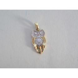 Zlatý prívesok sova žlté zlato zirkóny DI110Z 14 karátov 585/1000 1,10g