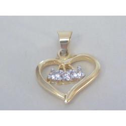 Zlatý prívesok srdce so zirkónmi žlté zlato DI144Z 14 karátov 585/1000 1,44g