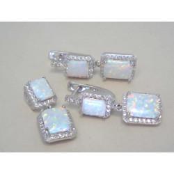 Výrazná dámska ródiovaná súprava prívesok,naušnice biely opál,zirkóny VSS805 925/1000 8,05 g