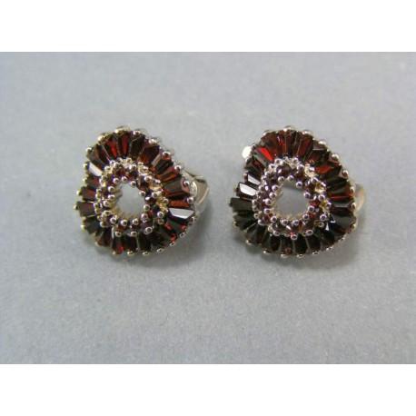 Náušnice striebro rhodiované tvar srdce kameň český granát