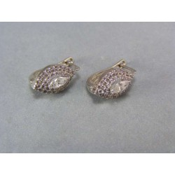 Zlaté náušnice z bieleho zlata  s kamienkami zirkónu VA411BZ