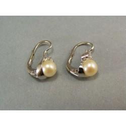 Zlaté náušnice  biele zlato s perličkou a zirkónom VA414BZ