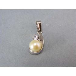 Zlatý prívesok biele zlato s perličkou a zirkónom