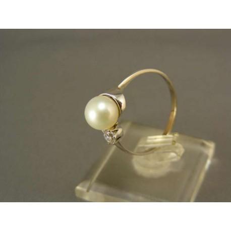 Zlatý prsteň biele zlato s perlou