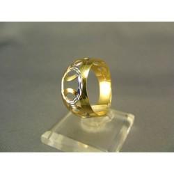 Zlatý dámsky prsteň s kruhmi žlté biele zlato VP59217V