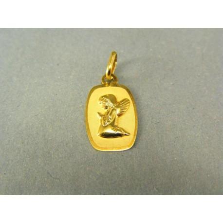 Zlatý prívesok kľačiaci anjelik na oválnej platničke
