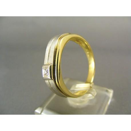 Zlatý pánsky prsten dvojfarebné zlato s kamienkom