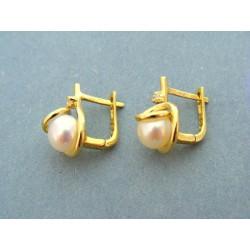 Zlaté náušnice s bielou perlou v žltom zlate VA463Zsh
