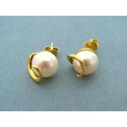Zlaté náušnice napichovacie s bielou perlou VA494Z