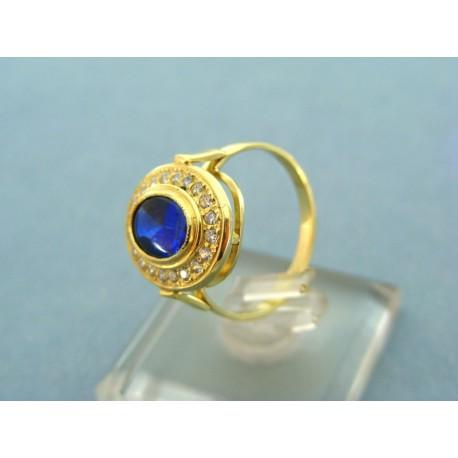Zlatý prsteň s modrým zirkónom