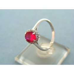 Zlatý prsteň biele zlato s červeným zirkónom VP56268B