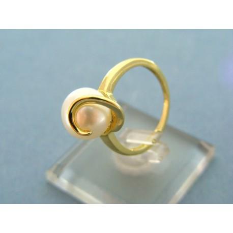 Prsteň žlté zlato s bielou perlou