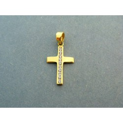 Zlatý prívesok jednoduchý krížik žlté zlato so zirkónom VI095K