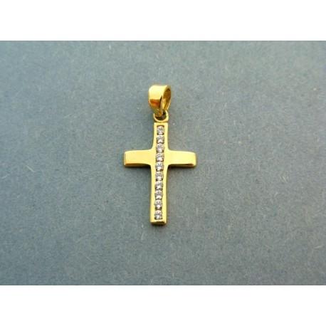 Prívesok jednoduchý krížik žlté zlato so zirkónom