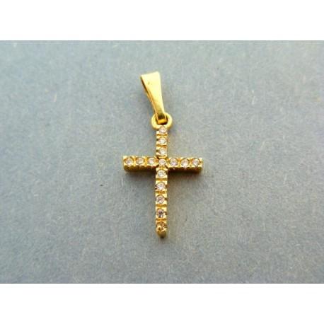 Krížik žlté zlato z vlozenými zirkónmi