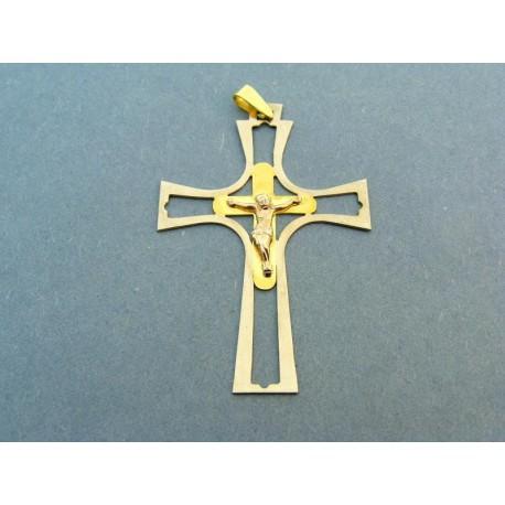 Veľký prívesok kríž dvojfarebné zlato žlté a biele