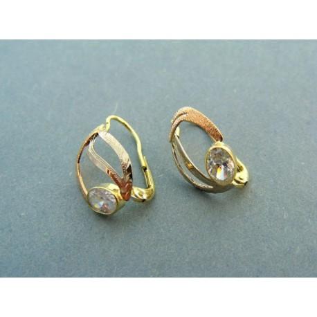 Elegantné dámske náušnice viacfarebné zlato