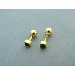 Zlaté náušnice žlté zlato s kamienkom napichovačka VI113Z