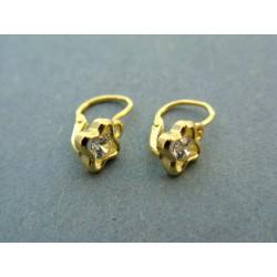 Zlaté naušnice detské kamienok číry žlté zlato VA114ZA