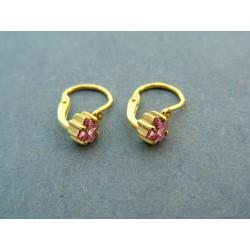 Zlaté náušnice detské ružový hranatý kamienok žlté zlato VA101ZA