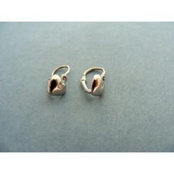 Zlaté náušnice detské tvar srdiečko s diamantom biele zlato VA110BD