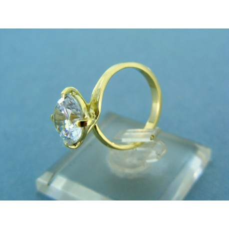 Zlatý dámsky prsteň žlté zlato s veľkým zirkónom