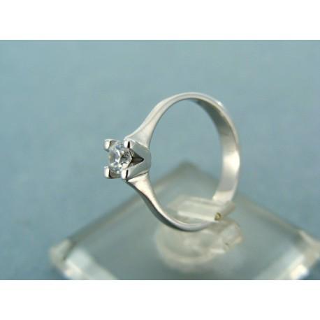 Dámsky prsteň biele zlato kameň brúsený zirkón