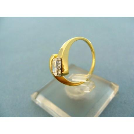 Prsteň žlté zlato kameň zirkóny