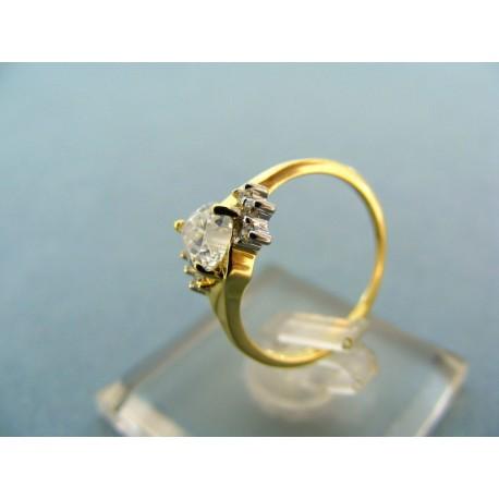 Prsteň žlté s bielym zlatom kameň zirkóny