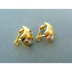 Zlaté náušnice dvojfarebné vzorované tvar polmesiaca VA215V