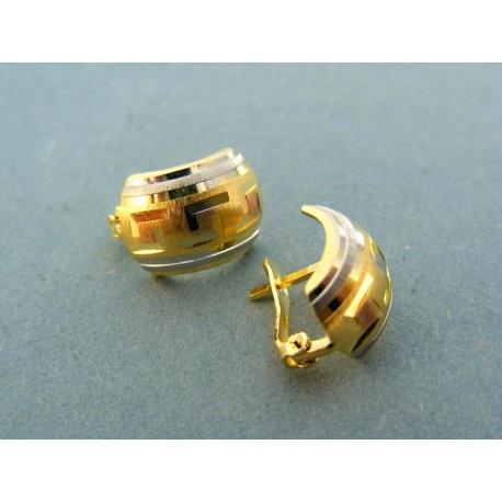 Zlaté náušnice dvojfarebné zlato so vzorom