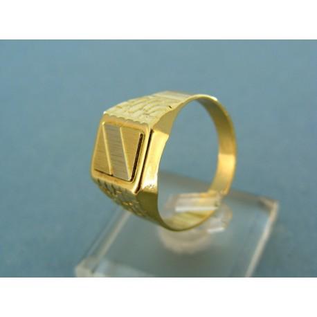 Pánsky zlatý prsteň kombinácia žltého a bieleho zlata