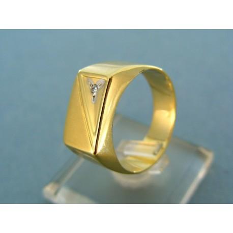 Pánsky prsteň žlté zlato s jemným zirkónom