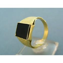 Pánsky prsteň žlté zlato kameň onyx