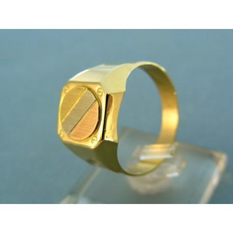 Pánsky prsteň trojfarebné zlato